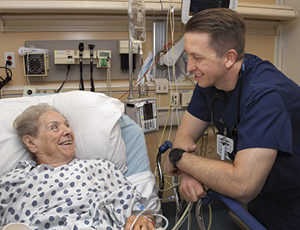 Dorothy Mickel of Fairfield chats with Dr. Ben Williams.