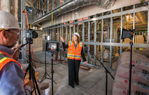 Above: NorthBay Healthcare Group President Aimee Brewer records a video blog during a tour of the three-story wing being built at NorthBay Medical Center.