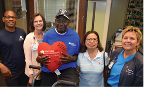 Joe Carter, with heart pillow, and his wife Ruby were thrilled with the excellent care at NorthBay Medical Center and returned to the facility to thank, left to right, ICU nurse Arold Nelson, R.N., Karen Loewe, R.N., clinical manager for NorthBay Cardiac & Pulmonary Rehabilitation and Lisa Ensley, R.N., far right.